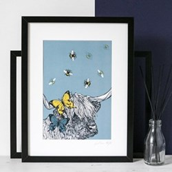 Cow With Bees & Butterflies Mounted print, 32.5 x 43cm, black frame