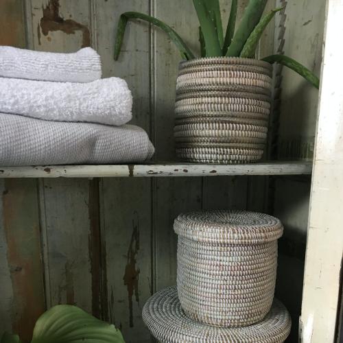 Wastepaper bin, 28 x 26cm, Natural/Grey