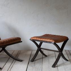 Narwana Foot stool, 39 x 48 x 40cm, Aged Leather & Iron