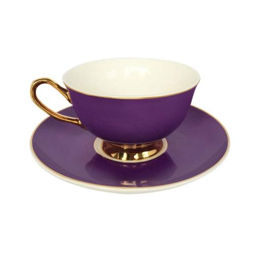 Gold rim Teacup and saucer, H6x Dia15cm, Purple