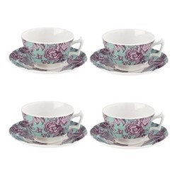 Kingsley Set of 4 tea cups and saucers, teal