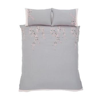 Embroidered Blossom Super king size duvet set, 220 x 260cm, grey