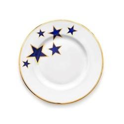 Lucky Stars Salad plate, 23cm, crisp white & cobalt blue/burnished gold edge