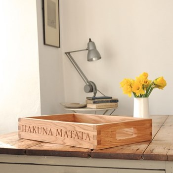 Bespoke engraved large butler tray, L58 x W48 x D8cm
