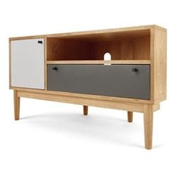 Campton Corner media unit, H58 x W105 x D50cm, oak