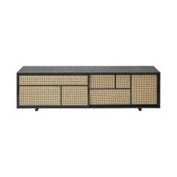 Air Low sideboard, 180 x 38 x 50cm, Black/Cane