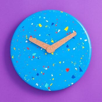 Terrazzo Jesmonite Wall clock, L315 x W315 x H3cm, blue