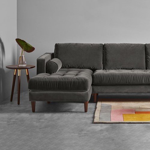 Scott 4 seater left hand facing sofa, H84 x W259 x D100/171cm, Concrete Cotton Velvet