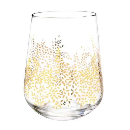 Chelsea Gold Leaf Set of 4 stemless wine glasses, 0.41 Litre