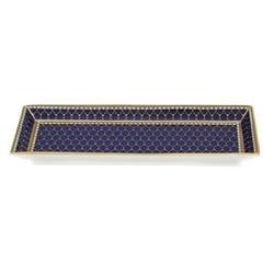 Antler Trellis Rectangular tray, 20.5 x 7.5cm, midnight blue and gold