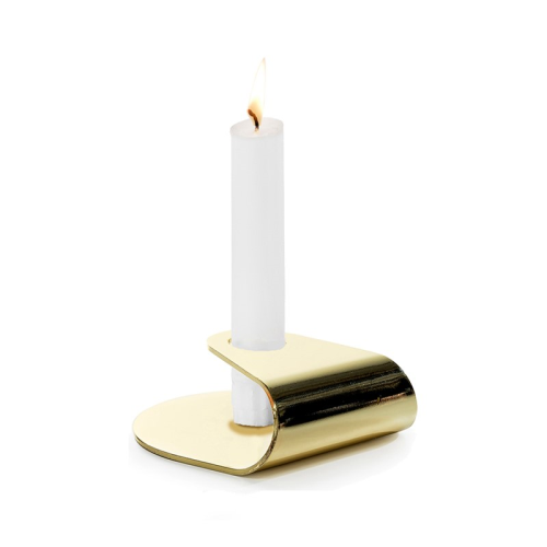 Nightlight Candlestick, Dia10 x 3.8cm, Brushed Gold Plated