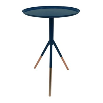 Tripod table, H58cm x Dia37cm, navy/copper