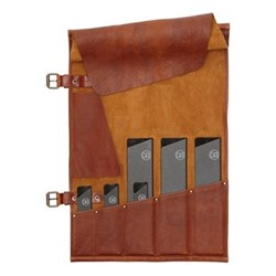 5 Pocket knife roll (knives not included), H51 x W33.5cm, cognac