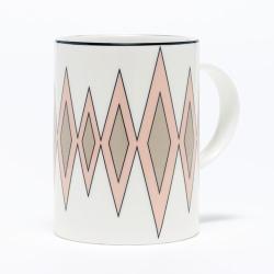 Diamond Mug, 10.2 x 7.6cm, blush/truffle (black rim)