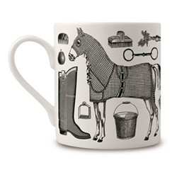 Horse Lovers Mug, H9 x Dia 8cm, black/white