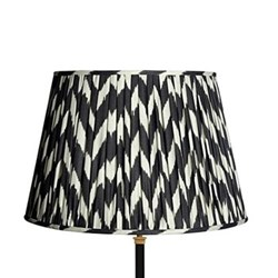 Straight Empire Ikat printed lampshade, 45cm, black zig-zag linen
