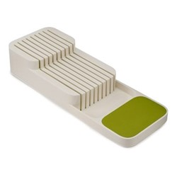 DrawerStore 2 tier knife organiser, L40 x W14 x D7.5cm, white & green