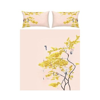 Chinese Tree King size bed linen set, pink/yellow - sateen finish