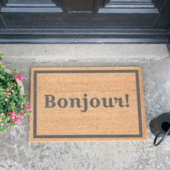 Bonjour Doormat , L60 x W40 x H1.5cm, grey