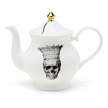 Skull in Crown Large teapot, H18 x W22 x D10cm, crisp white/burnished gold details