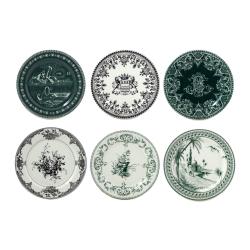 Les Depareillées Set of 6 assorted coasters, 13cm, Green