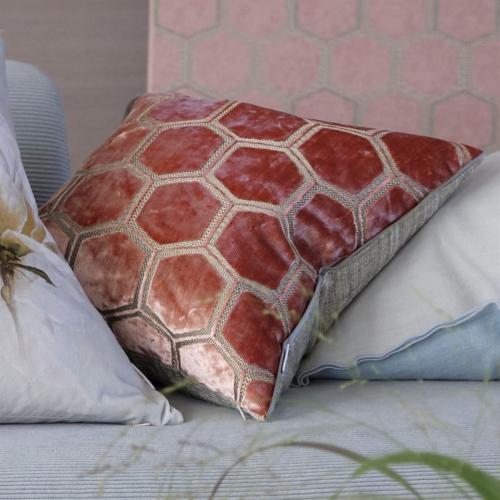 Manipur Cushion, H43 x W43cm, Coral