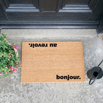 Bonjour, Au Revoir Doormat  , L60 x W40 x H1.5cm