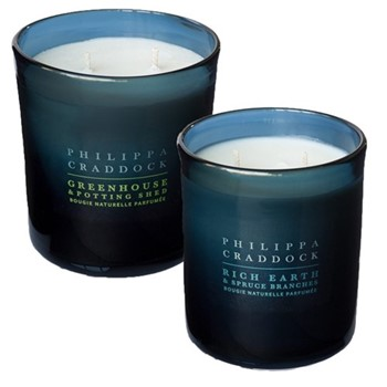 Rich Earth & Spruce Branches/Greenhouse & Potting Shed Pair of 2 wick candles, H10 x W9cm, blue