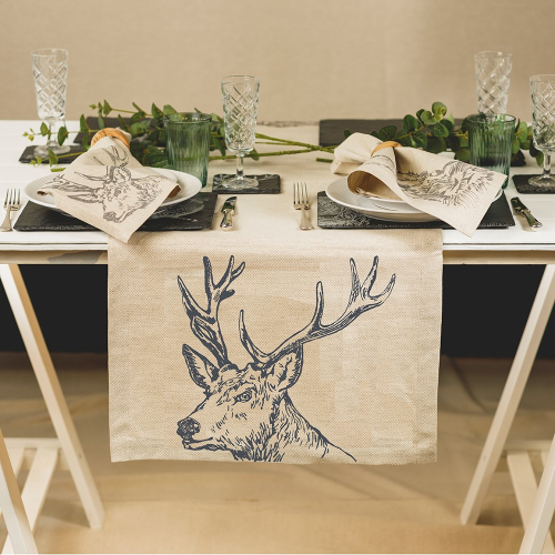 Stag Table runner, 50 x 140cm