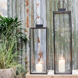 Sia Large lantern, 76.5 x 20 x 20cm, antique black