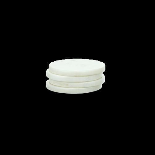 Esa Set of 4 marble coasters, Dia11cm, White