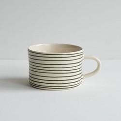 Horizontal Stripe Set of 6 mugs, H7 x W10.5cm, moss green
