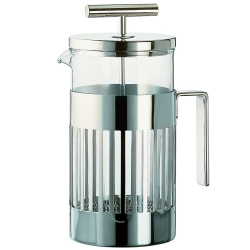 Aldo Rossi Press-filter coffee maker, 3 cup, stainless steel and glass