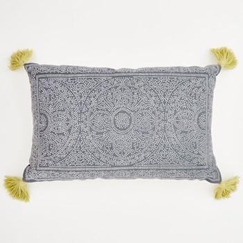 Kas Cushion, L60 x W40cm, navy/gooseberry