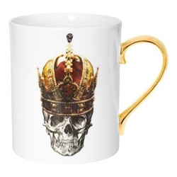 Skull in Crown Mug, W7.5 x H9cm, crisp white/burnished gold details