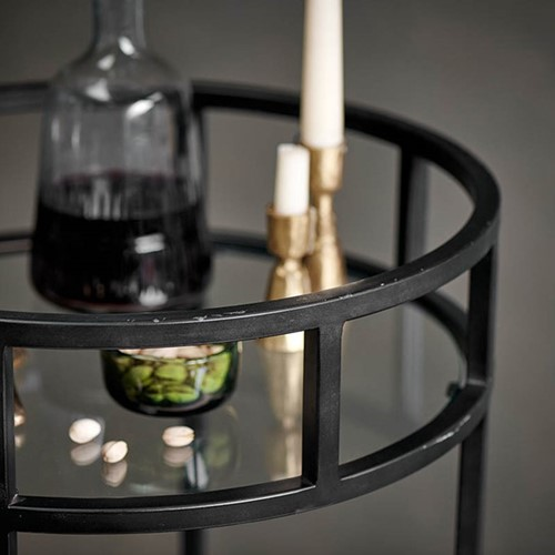Nakuru Drinks table, H66 x D46cm, Iron And Glass