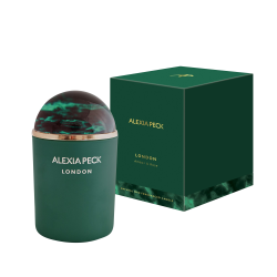 London - Amber & Rose Candle and paperweight, L11 x W11 x H16.5cm, Green