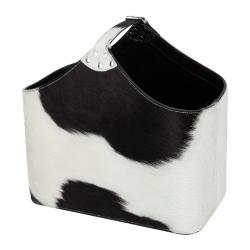 Cowhide Magazine basket, H39 x W33 x L20cm, Black And White