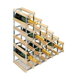 Under Stair 27 bottle wine rack, H62 x W62 x D23cm, natural/galvanised steel