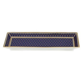 Antler Trellis Rectangular tray, 20.5 x 7.5cm, midnight blue and gold