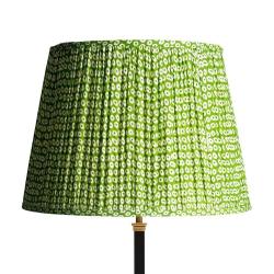 Straight Empire Block printed lampshade, 40cm, green cotton