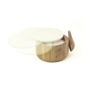 Salt pot and spoon, H7 x W12.5cm, oak