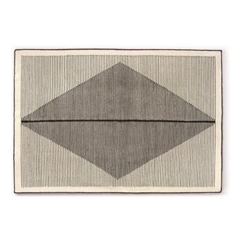 Camden Large diamond wool rug, H160 x W230cm, black and off white
