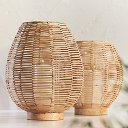 Noko Large wicker lantern, Dia37 x 29.5cm, natural