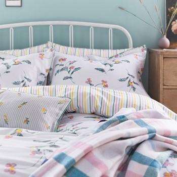 Swanton Floral Single duvet cover, L200 x W140cm, white