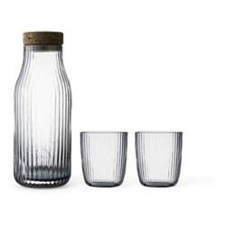 Christian Carafe and pair of glasses, clear