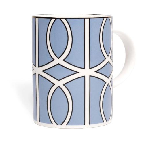 Loop Mug, 10.2 x 7.6cm, blue/white (silver rim)