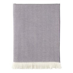 Herringbone Merino woven throw, 190 x 140cm, thistle & white
