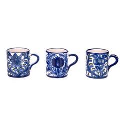 Granada Set of 3 assorted mugs, L12cm x W8cm x H9cm, blue
