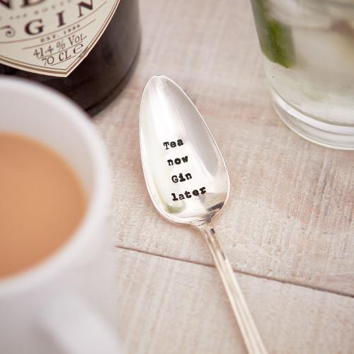 Tea Now Gin Later Teaspoon, 13cm, Silver Plated
